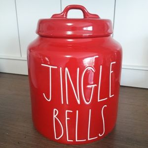 Rae Dunn red JINGLE BELLS large canister. 2019